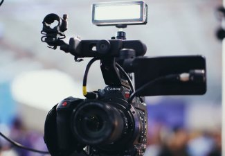 Phot of a camera in a broadcast set