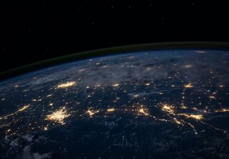 Image of a nighttime Earth from space