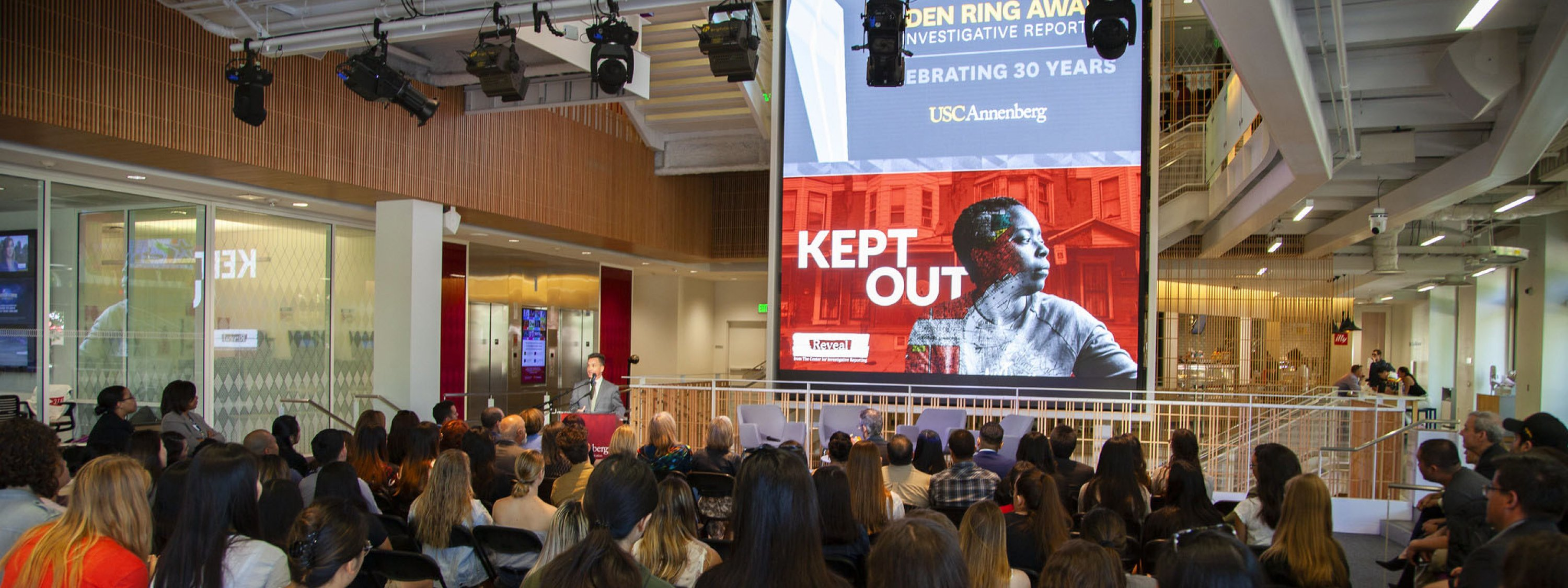 Photo of the presentation of the Selden Ring Award at USC Annenberg