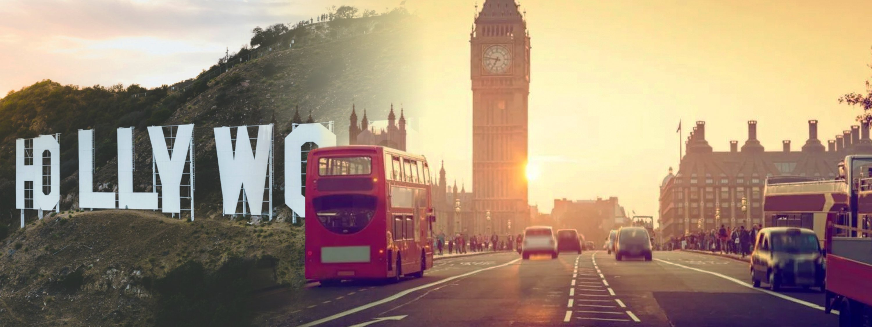 Photo manipulation of the Hollywood sign and a street in London where the Big Ben is visible