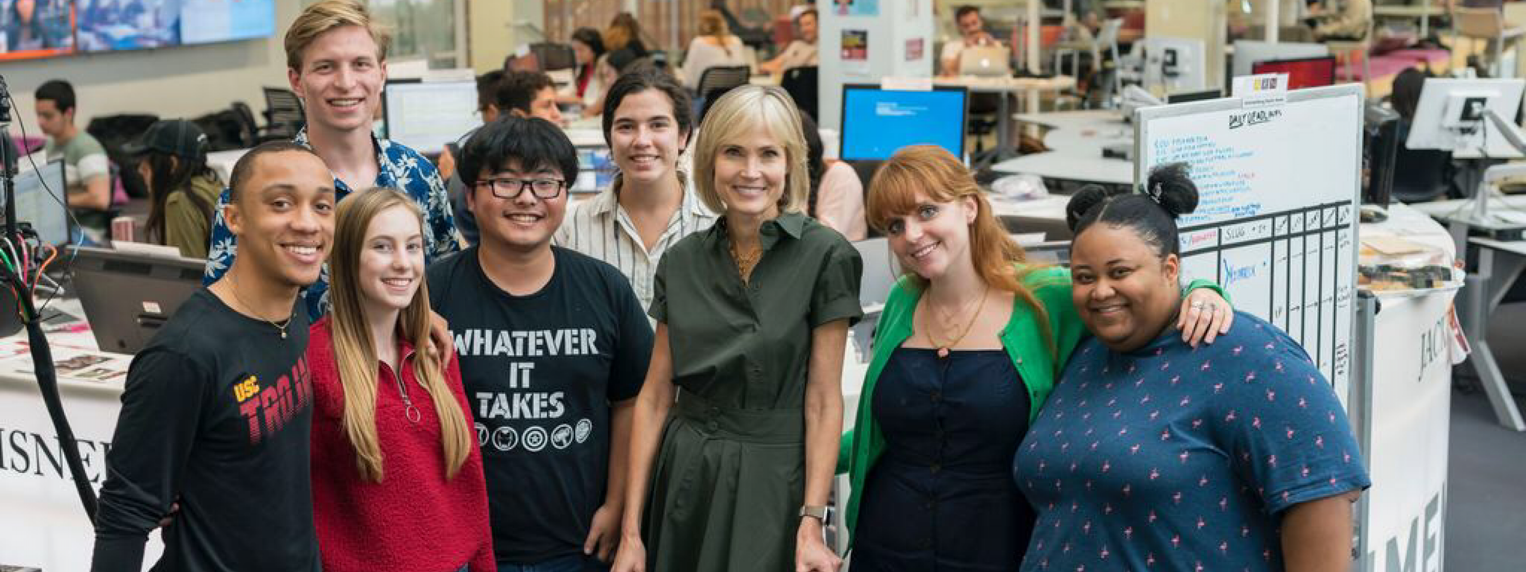 Photo of USC Annenberg students with Dean Willow Bay