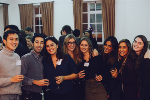 LSE Global Media students enjoy the anniversary reception in London.