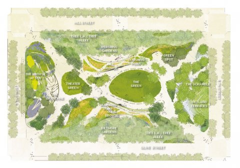 wHY with Civitas proposed a diverse green space in the middle of the city.