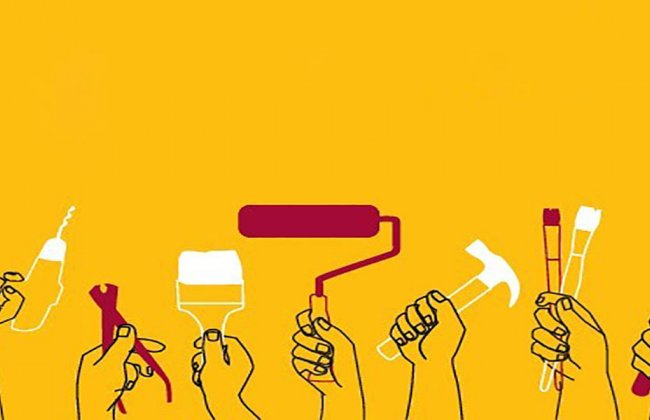 """Poster of people holding construction tools and paint tools with the words """"Volunteer with USC."""""""