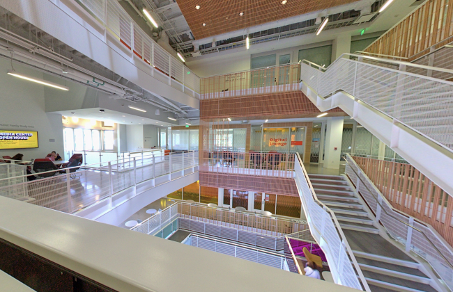 Photo of the inside of Wallis Annenberg Hall