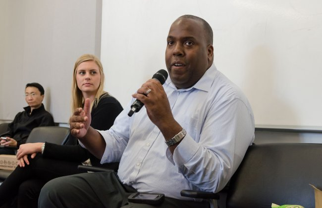 JaBari Brown, Assistant Director for Advisement and Academic Services, speaks about Annenberg Students and their thoughts regarding AnnenbergX and the Third Space. © USC Annenberg; Photo Credit: Benjamin Dunn