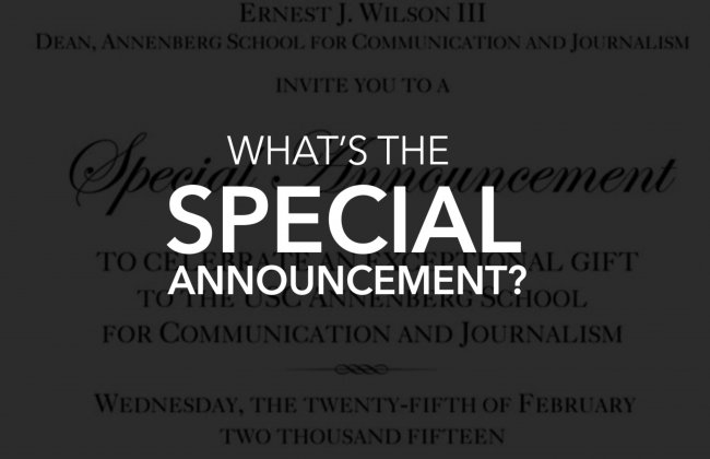 """What's USC's """"Special Announcement""""?"""