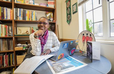 Photo of Chimene Tucker, USC librarian in her second floor office in Doheny Library.
