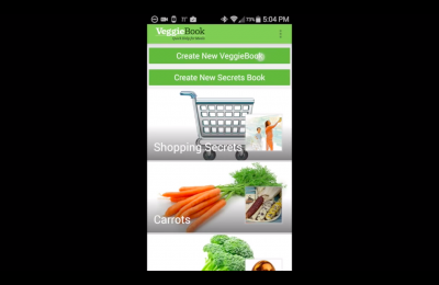 Screenshot of the interface for Veggie Book