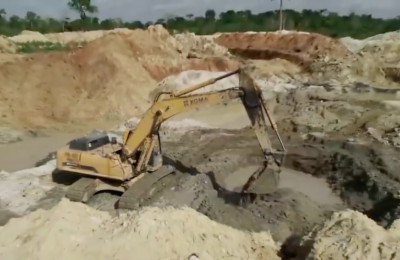 Screenshot of video about Chinese mining in Ghana