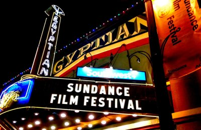 """Photo of a sign that says """"Sundance Film Fesitval"""" at the Egyptian venue"""