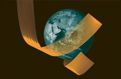 Illustration of Earth wrapped around with a gold ribbon