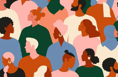 Colorful graphic of people in a crowd