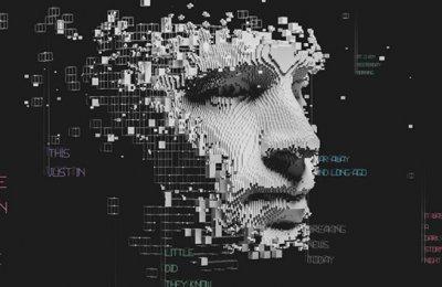 illustration of a robotic figure disintegrating into a screen