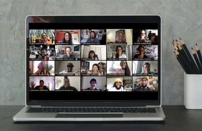 Photo of a video chat call on a computer