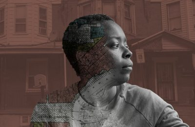 Illustration of a person in front of a neighborhood and a faint map depicting redlining is shown in their silhouette