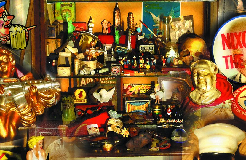 Photo by Henry Jenkins of many figurines and cartoonish statues