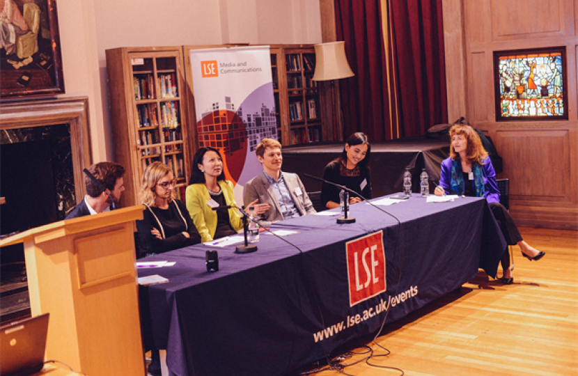 Professor Patricia Riley (far right) moderates the alumni panel at LSE.