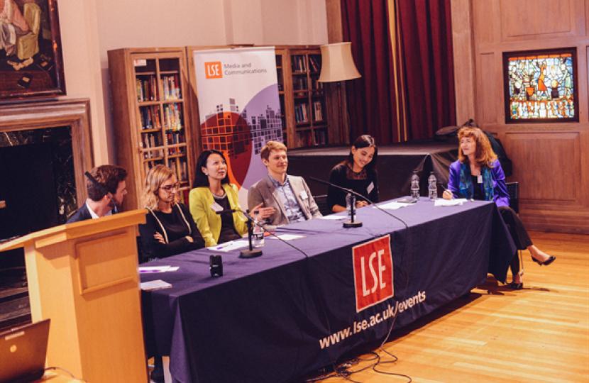 Professor Patricia Riley (far right) moderates the alumni panel at LSE.