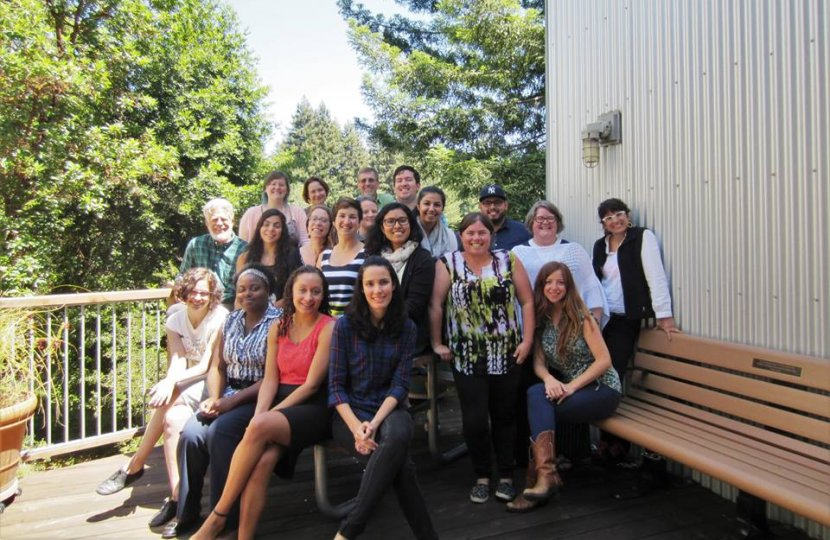 Participants in the 2016 Community Engaged Research Institute take a break to pose for a group shot at UC Santa Cruz.