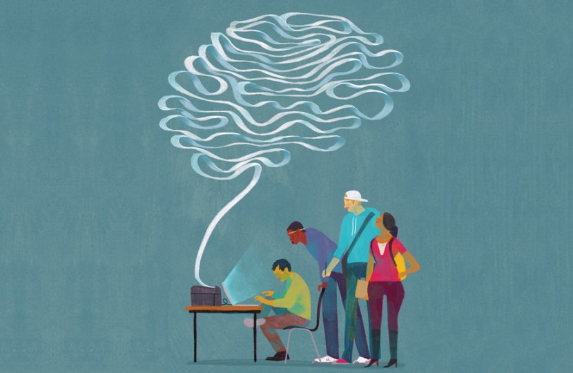 Illustration of four people around a laptop screen and a smoke-like cloud coming out of it above them
