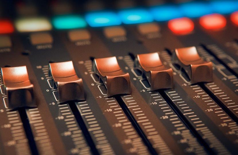 Photo of an audio mixer board
