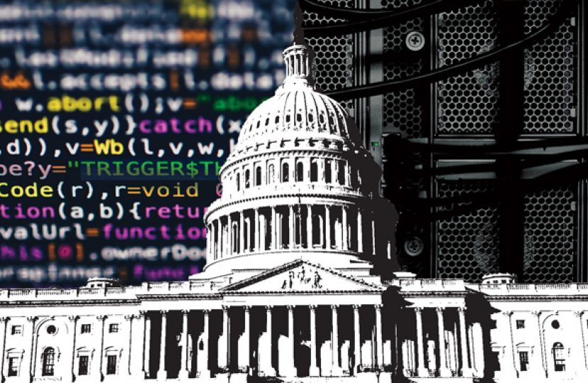 Photo of the White House with computer code on one side and a sound system on another