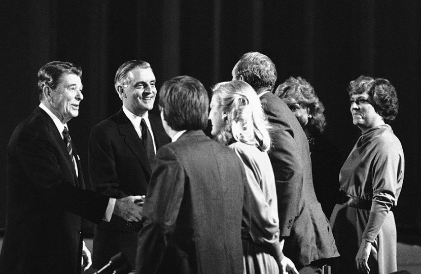 Photo of Ronald Reagan with his Democratic challenger Walter Mondale soon after a debate in 1984