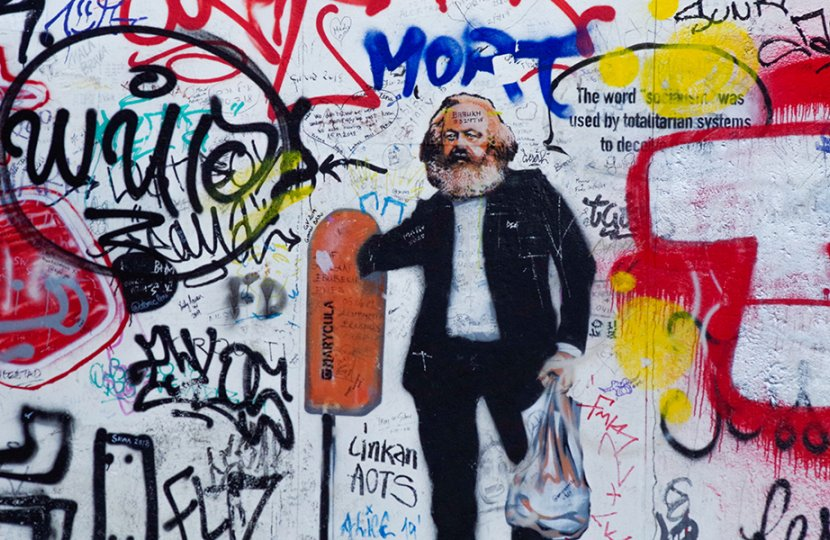 Graffiti with Karl Marx in the center