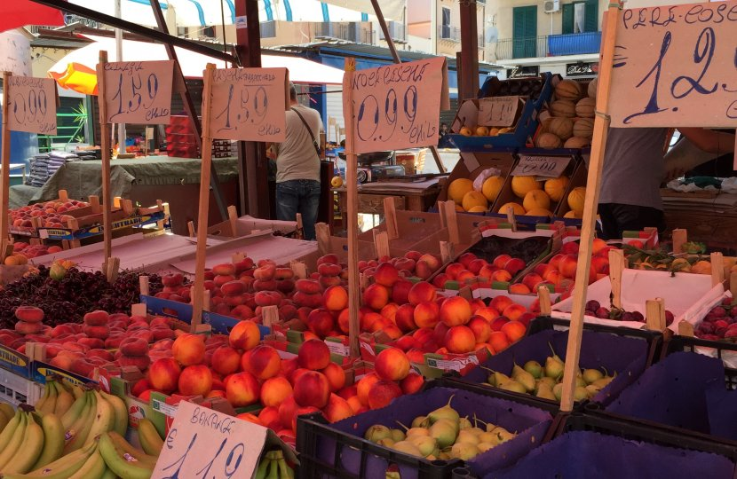 Fruit for sale at the Ballaro food markets in Palermo, Sicily.
