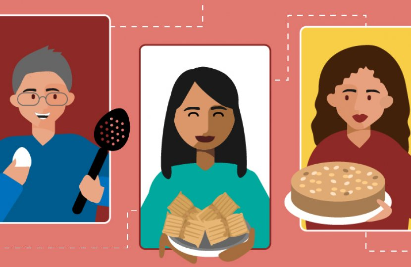 Illustration of people holding baked goods