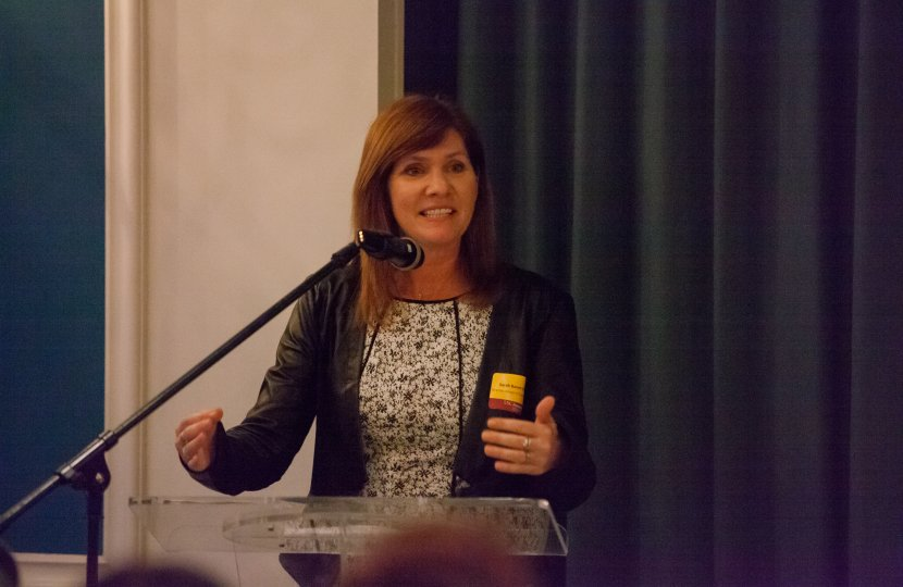 USC Annenberg School for Communication and Journalism School of Communication Director Sarah Banet-Weiser speaks to alumni during the Meet The Directors-Santa Monica talk at the Viceroy Hotel in Santa Monica, CA on April 28, 2015.