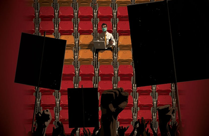 Illustration of a person sitting in sports stands with protestors facing towards them