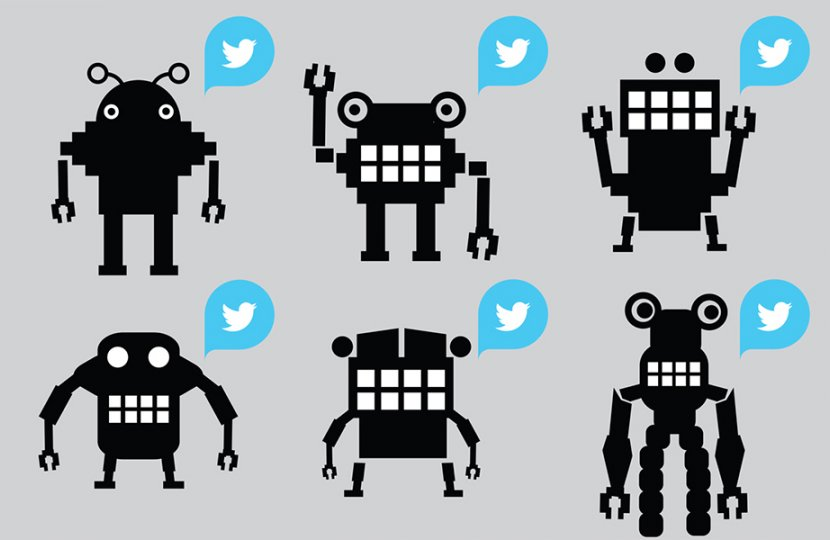 Illustration of six robotic figures all standing with the Twitter logo to their right
