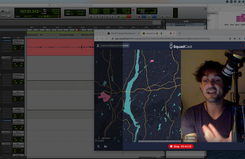Screenshot of a podcast computer set up