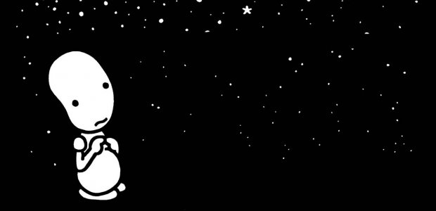 Illustration of a cartoon in a dark star filled sky