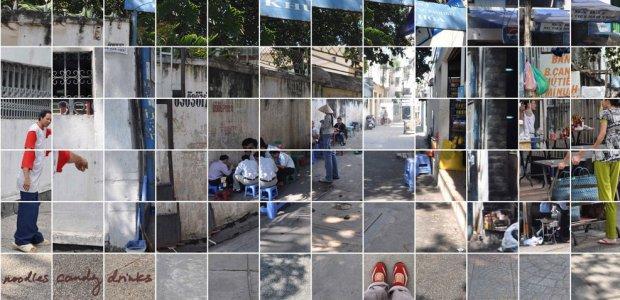 Price Professor Annette Kim's digital installation on sidewalk space in Ho Chi Mihn City.