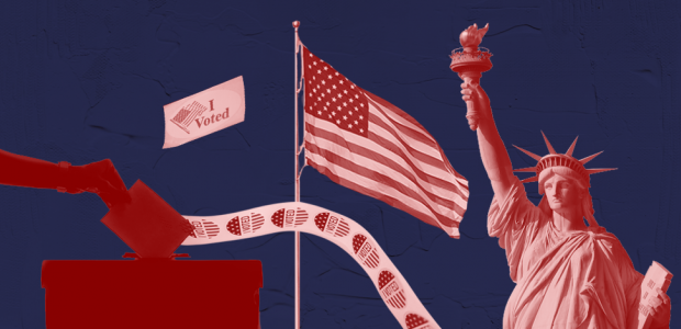 """Graphic of an American flag, the Statue of Liberty, an """"I voted"""" sticker, and a ballot box"""