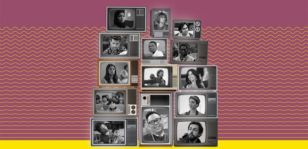 Cover showing different actors who portrayed immigrants in television in TV screens