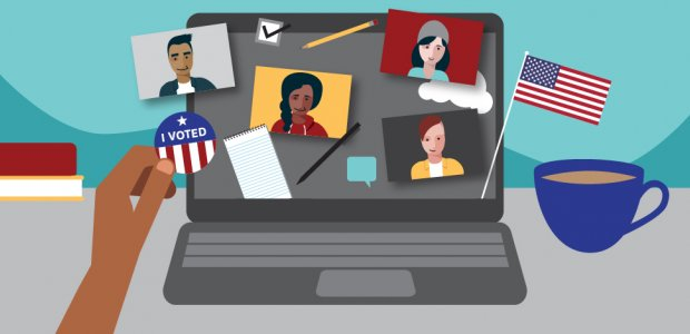 """Illustration of a virtual election day town hall. A laptop computer rests next to a cup of coffee and a person holding an """"I voted"""" sticker to a computer screen"""