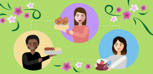 Graphic of three people holding different baked goods