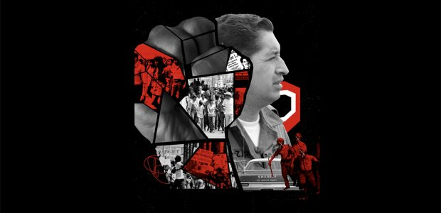 """Graphic illustration of moments and images of the """"Chicano Revolution"""" collaged"""