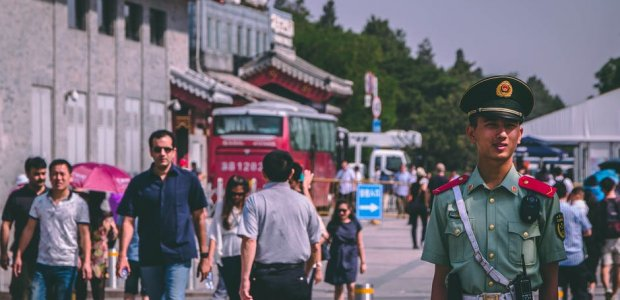 Photo of passerbys on a street in China