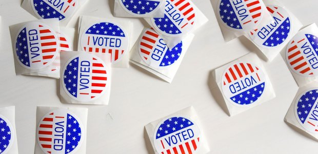 """Photo of many """"I voted"""" stickers"""