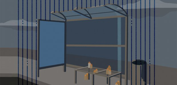 Illustration of a bus stop bench with candles lit
