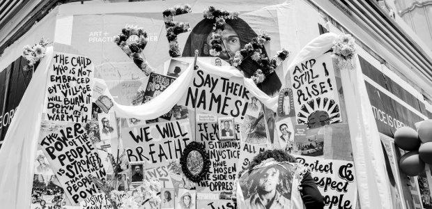 """Revolution header"" many Black Lives Matter protest signs depicting different sentiments all are placed together"