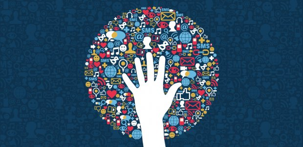 Graphic of a hand on top of a circle illustrating different social connections like email and instant messaging