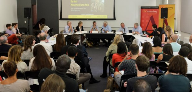 """Panelists discuss """"Covering Global Conflict: Ukraine & Ferguson,"""" in the first of a series of noontime conversations."""