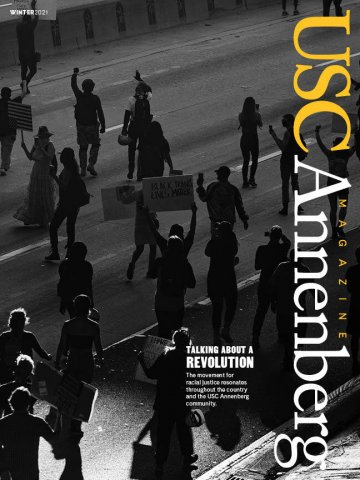 Cover of USC Annenberg magazine that shows Black Lives Matter protestors